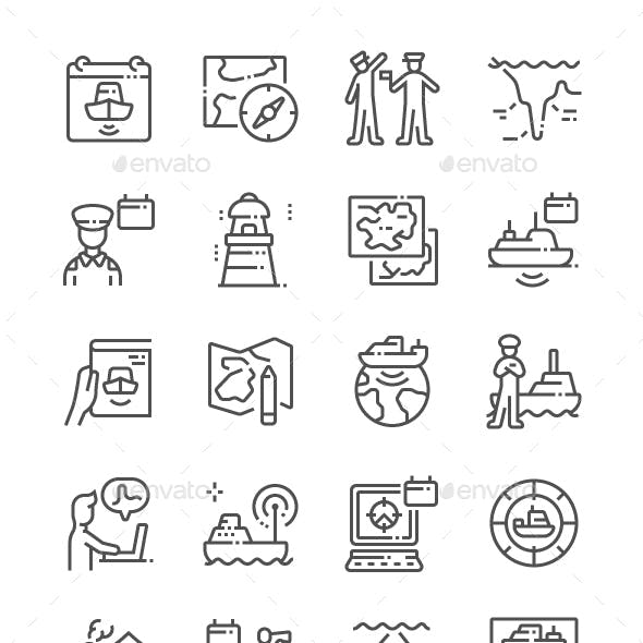 World Hydrography Day Line Icons