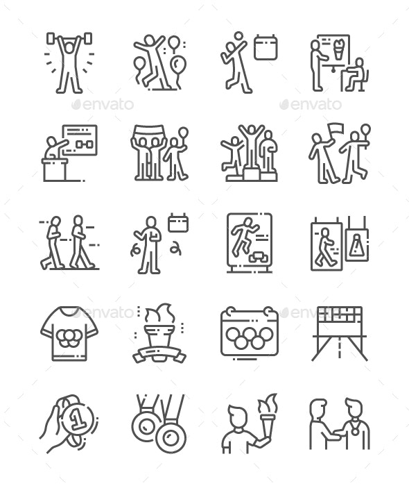 International Olympic Day Line Icons - Miscellaneous Characters