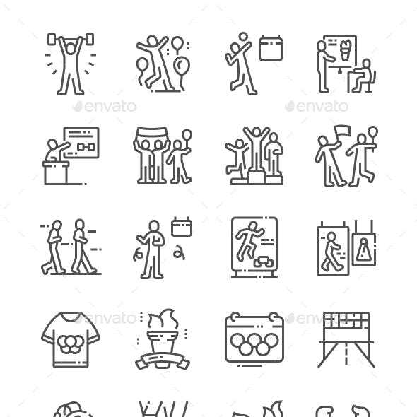 International Olympic Day Line Icons