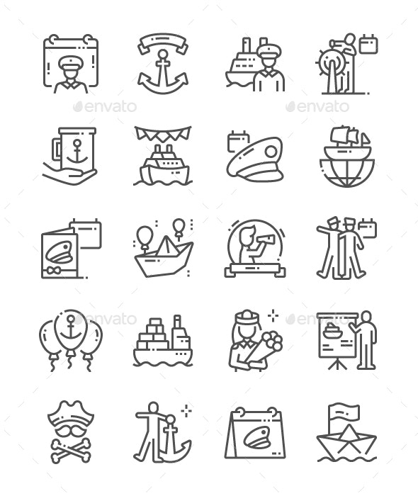Day of the Seafarer Line Icons - Miscellaneous Characters
