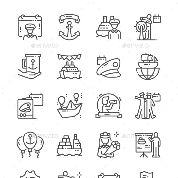 Day of the Seafarer Line Icons