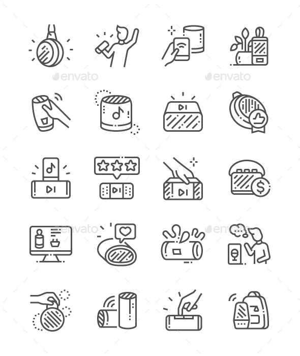 Portable Bluetooth Speaker Line Icons - Miscellaneous Characters
