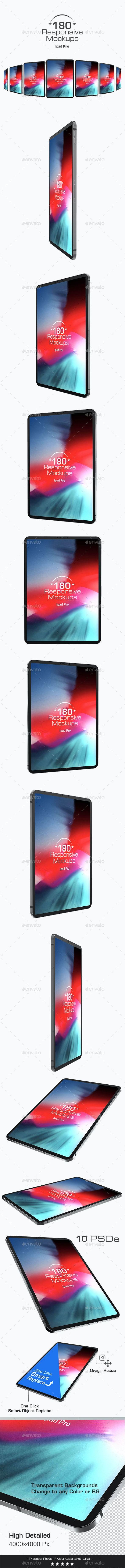 180 Responsive 3D Mockups - Pad Pro - Mobile Displays