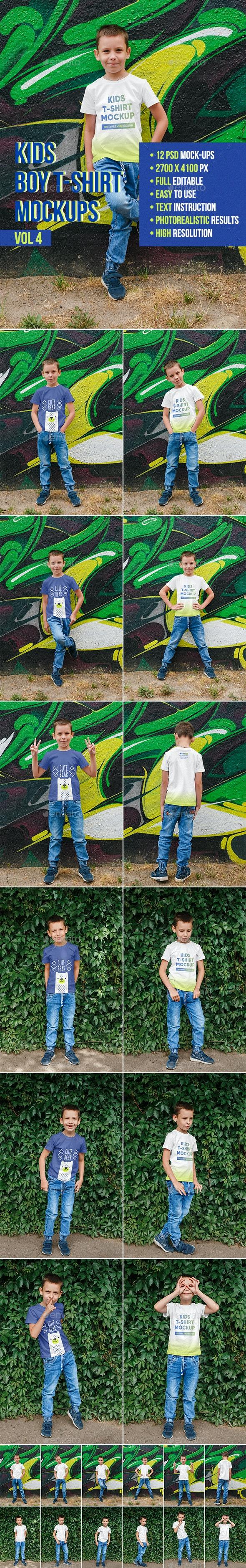 Kids Boy T-Shirt Mockups Vol4 - T-shirts Apparel