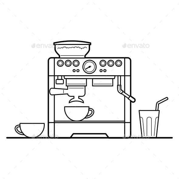 Espresso Machine Set - Food Objects