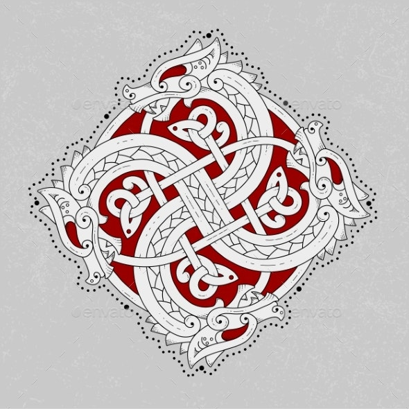 Scandinavian Snake Depicted in the Form of an Ornament - Miscellaneous Vectors