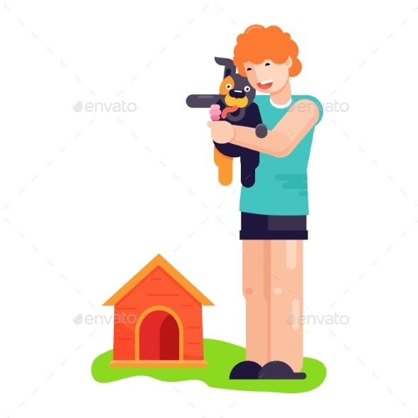 Man Boy Play with Best Friend Pet Character Dog