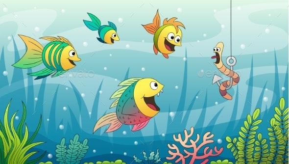 Cartoon Underwater Landscape - Animals Characters