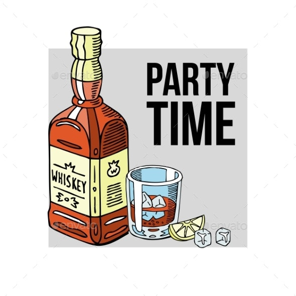 Party Time Banner Vector Illustration - Food Objects