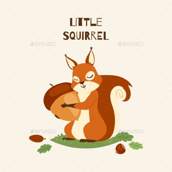 Squirrel Little Hugging Acorn and Standing - Animals Characters