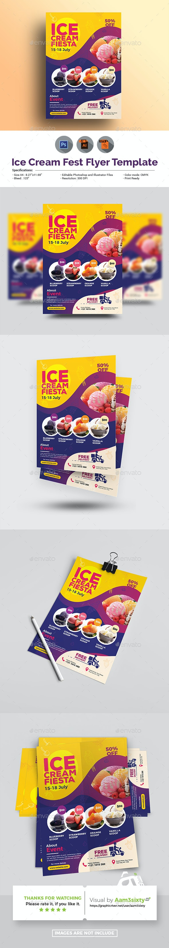 Ice Cream  Shop Flyer - Food Menus Print Templates