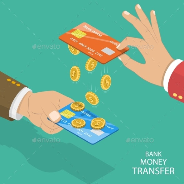Isometric Flat Vector Concept of Online Bank - Concepts Business