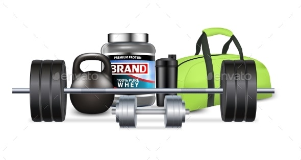 Fitness Gym Equipment and Sport Nutrition Vector - Sports/Activity Conceptual