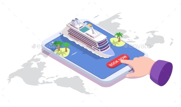 Sea Cruise Online Booking Vector Isometric - Travel Conceptual