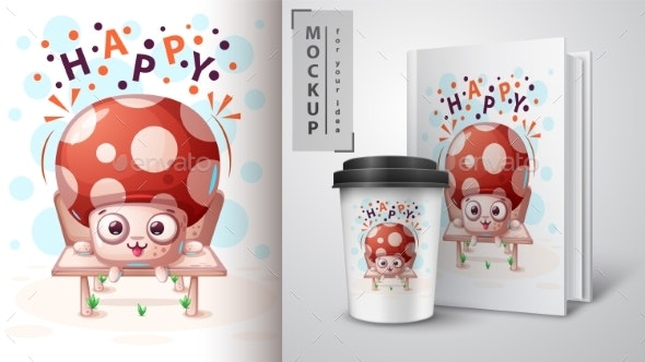 Seated Mushroom - Mockup for Your Idea - Animals Characters