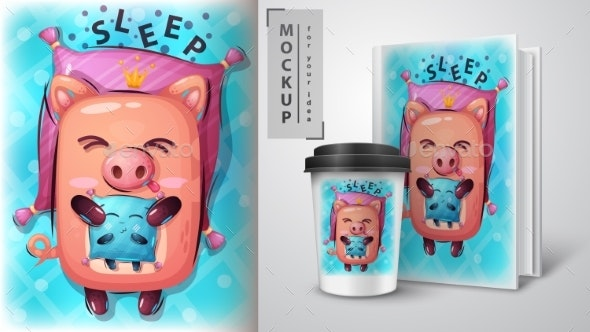 Pig with Pillow - Mockup for Your Idea - Animals Characters