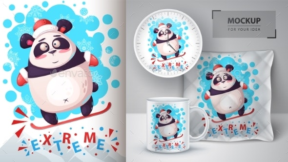 Snowboard Panda - Mockup for Your Idea - Animals Characters