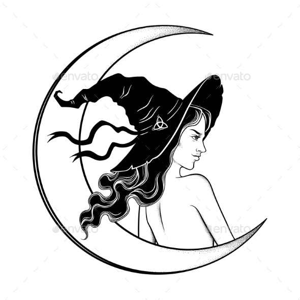 Witch Girl and Crescent Moon - Man-made Objects Objects