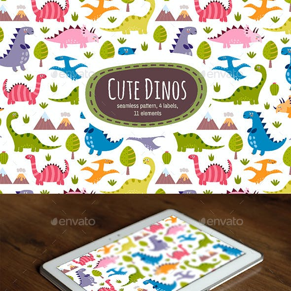 Dinos: Seamless Pattern & Labels