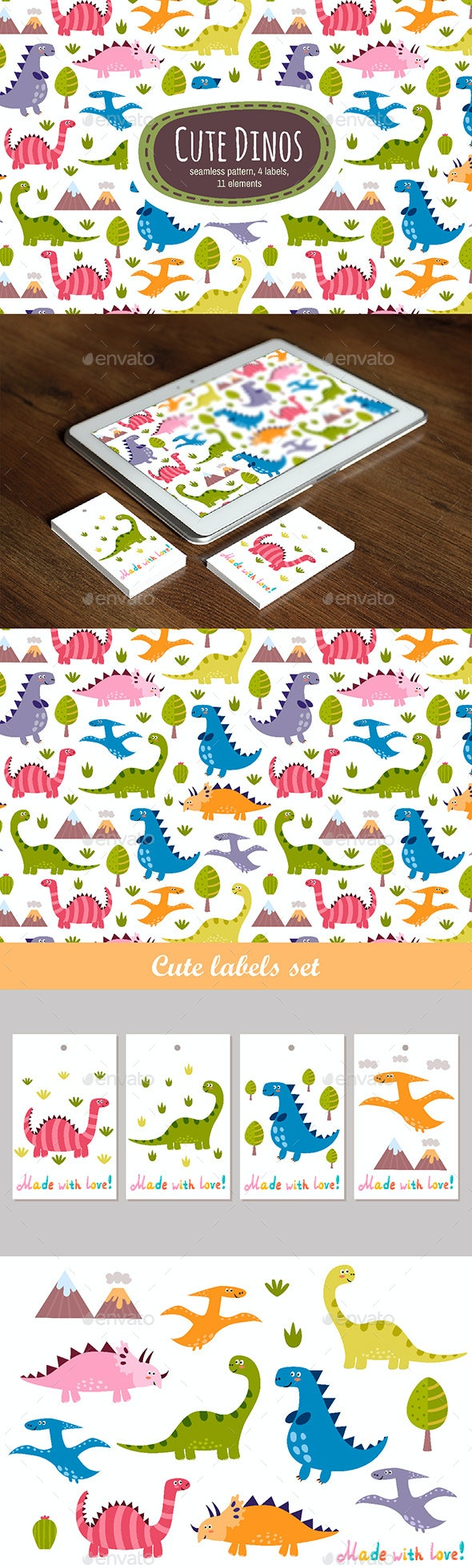 Dinos: Seamless Pattern & Labels - Animals Characters