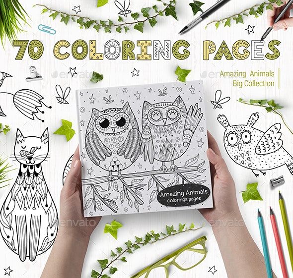 70 Coloring Pages Collection: Amazing Animals - Miscellaneous Vectors