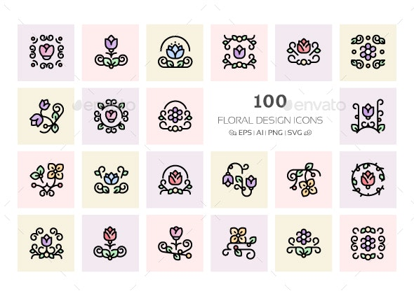 100 Floral Design Icons - Icons