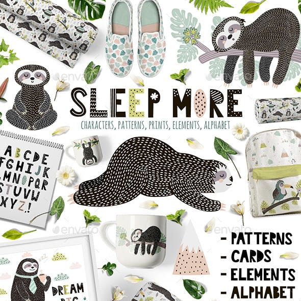 Sleep More Sloths Graphic Pack