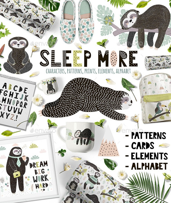 Sleep More Sloths Graphic Pack - Animals Characters