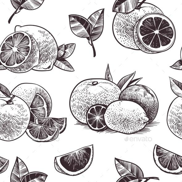Orange Fruits Seamless Pattern Vintage Citrus - Food Objects