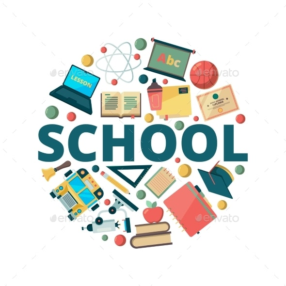 Education Background. Learning School Symbols in - Miscellaneous Vectors