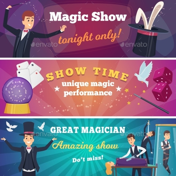Circus Party Banners. Magic Show with Wizard - People Characters
