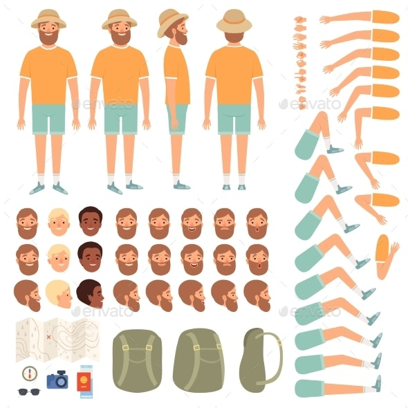Travel People Constructor. Body Parts of Happy - People Characters