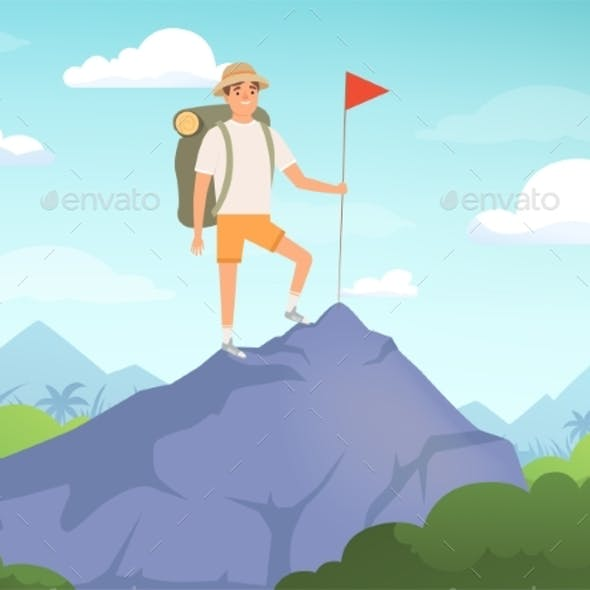 Camping Characters. Hiking Background People