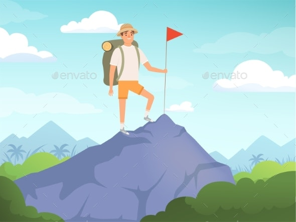 Camping Characters. Hiking Background People - People Characters