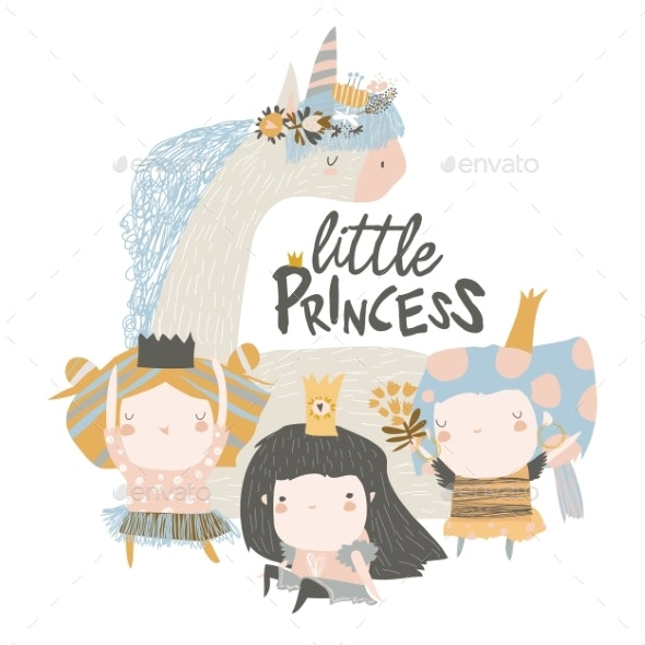 Little Princess Girls with Magic Unicorn on White - People Characters