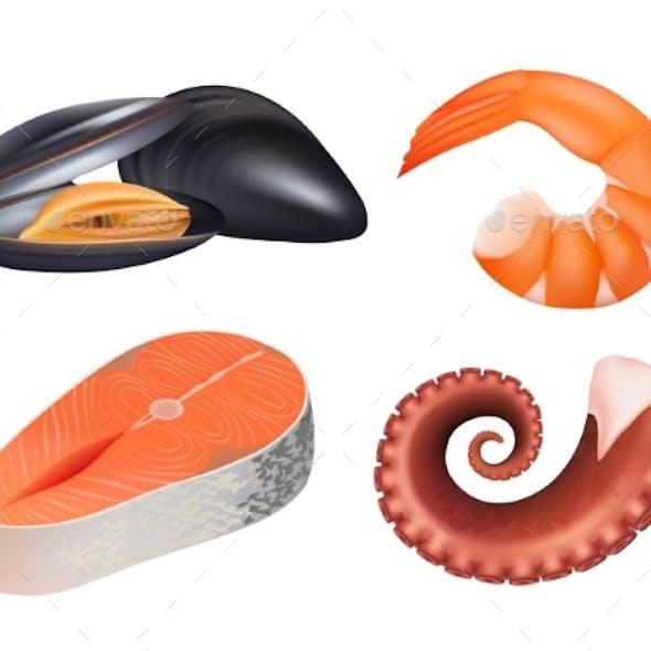 Sea Food Realistic. Fresh Fish Meal Salmon
