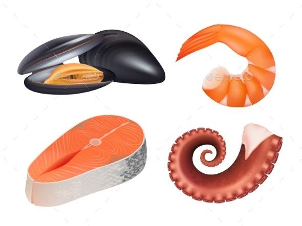 Sea Food Realistic. Fresh Fish Meal Salmon - Food Objects