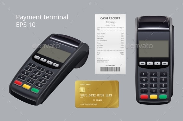 Payment Terminal. Credit Card Termination Machine - Objects Vectors