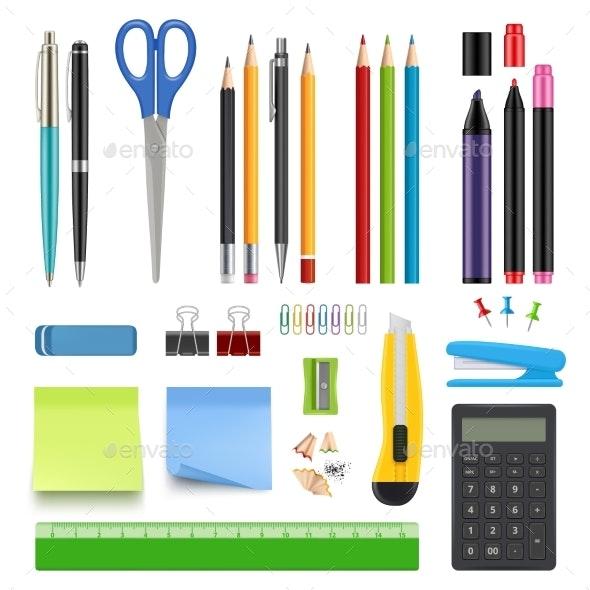 School Stationery. Pencil Sharp Pen Eraser - Objects Vectors