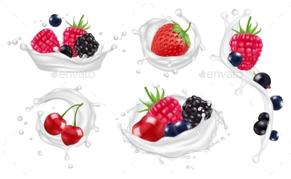 Berries Milk Splashes Vector Set. Strawberry - Food Objects