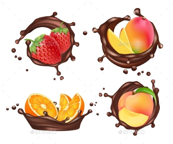 Chocolate Splashes with Fruits and Berries. Vector - Food Objects