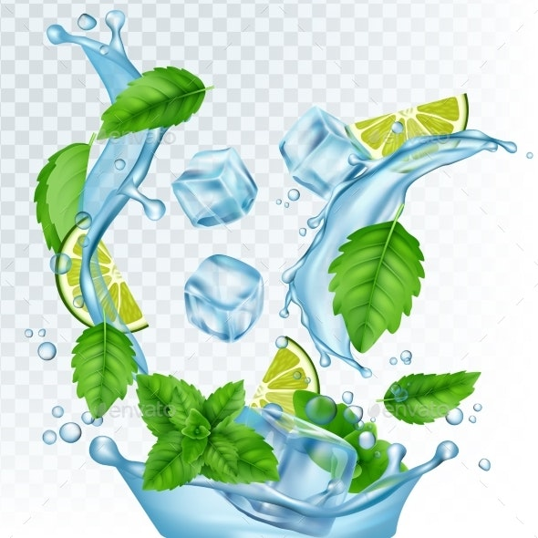Fresh Drink Vector Illustration. Realistic Water - Miscellaneous Vectors