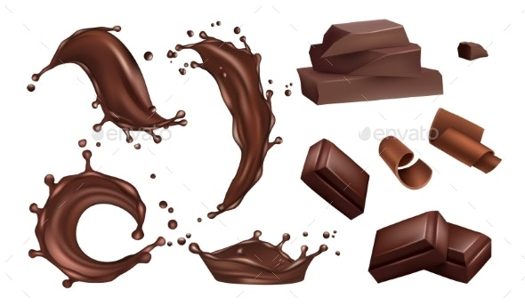 Realistic Chocolate Splashes, Flows and Bars - Food Objects