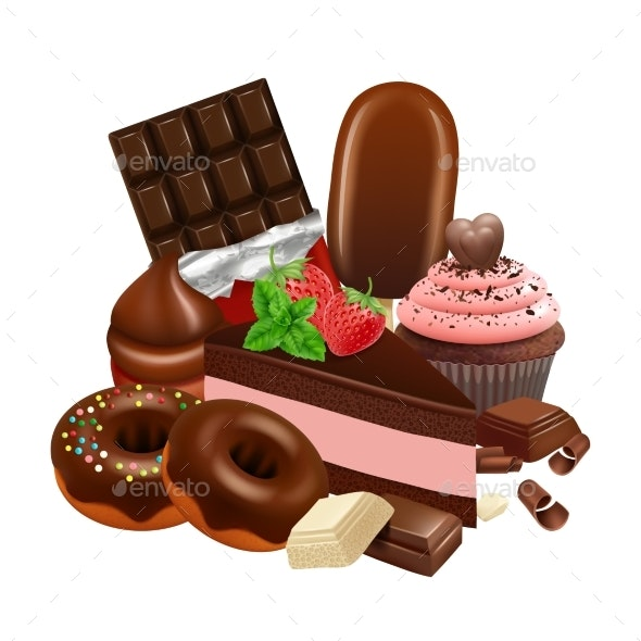 Chocolate Desserts Collection. Realistic Cupcake - Food Objects