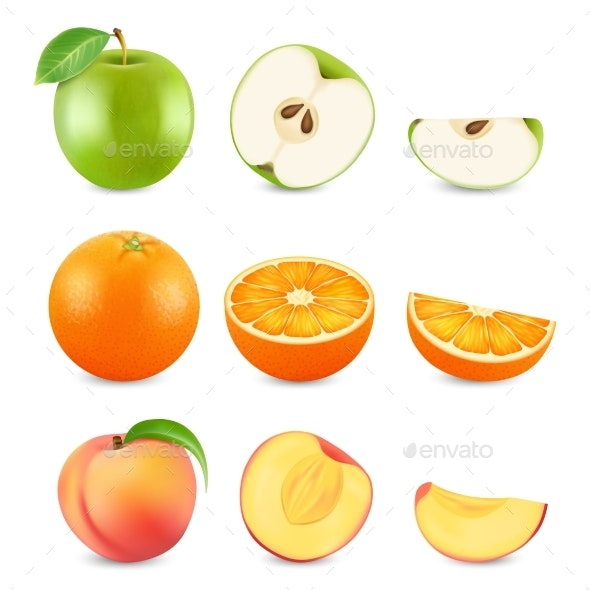 Realistic Cut Fruits Isolated on White Background - Food Objects