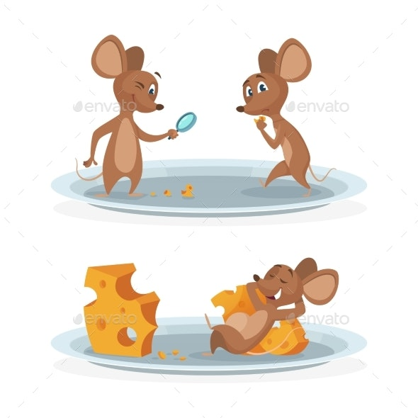 Cartoon Mice on Cheese Plate Vector Illustration - Animals Characters