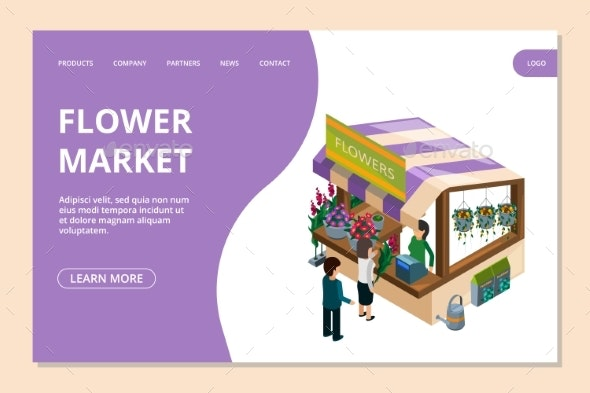 Flower Market Landing Page Template. Isometric - Organic Objects Objects