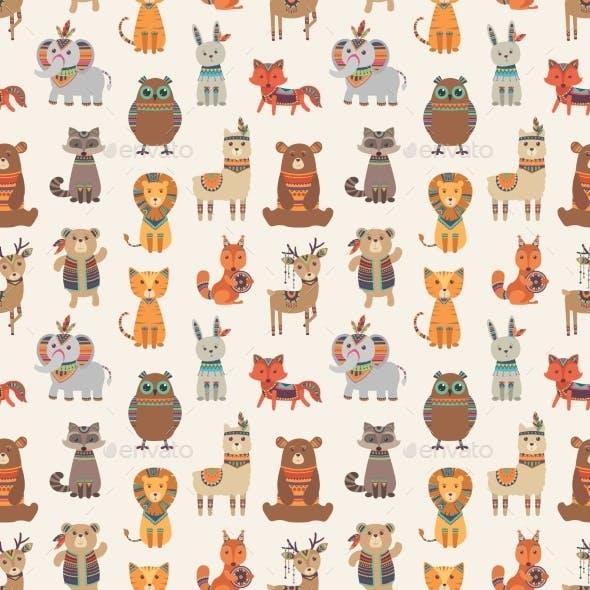 Tribal Animal Seamless Pattern. Ethnic Style