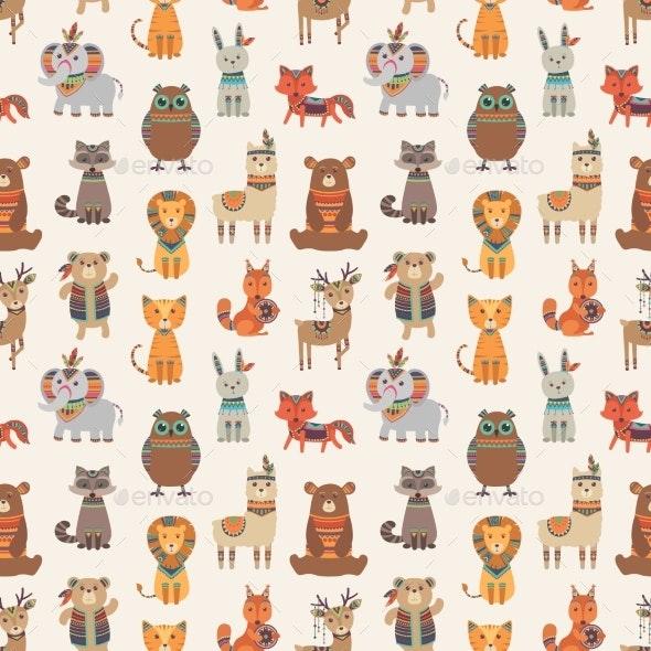 Tribal Animal Seamless Pattern. Ethnic Style - Miscellaneous Vectors