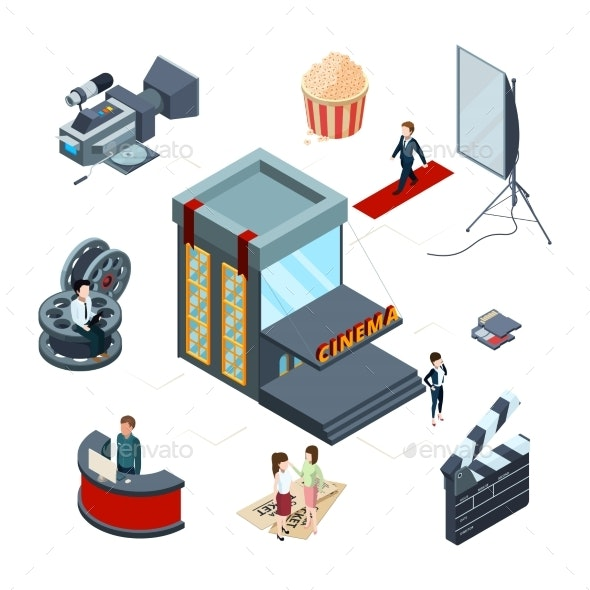 Isometric Cinema Vector Concept. Film Production - Miscellaneous Vectors